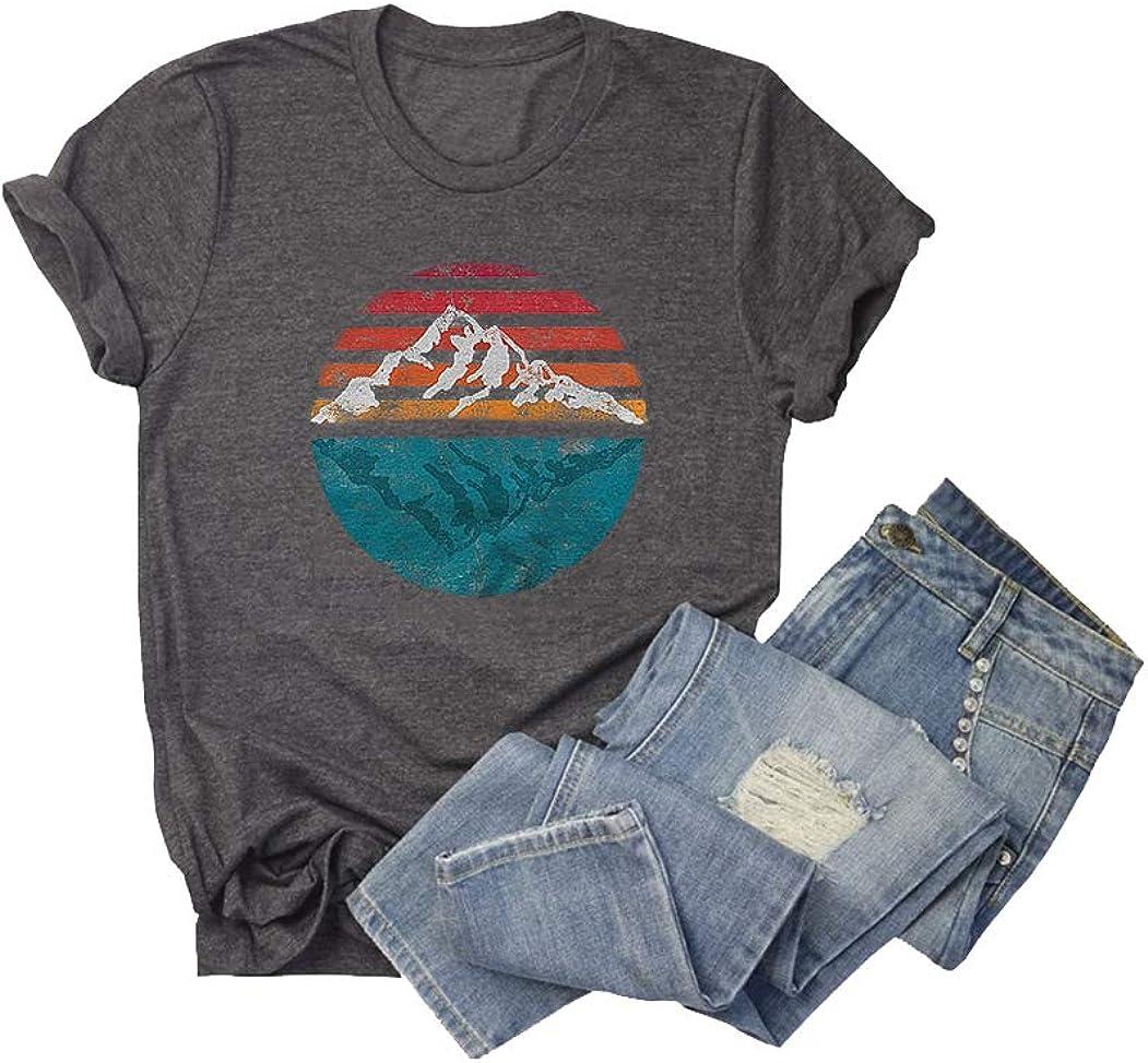Chulianyouhuo Women Sunset Organic Graphic Nature Travel T Shirt Short Sleeve Tee Tops