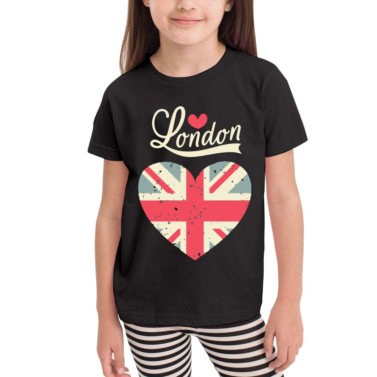 Short Sleeve Vintage London Love Flag Heart Shirts for Girls 2-6T Fashion Tunic Tops