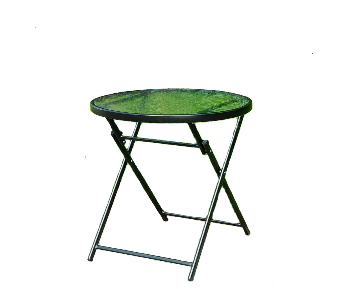 Round Glass Table With Folding Legs Indoor Outdoor Side Table - Compact, Weather Resistant - Small Green