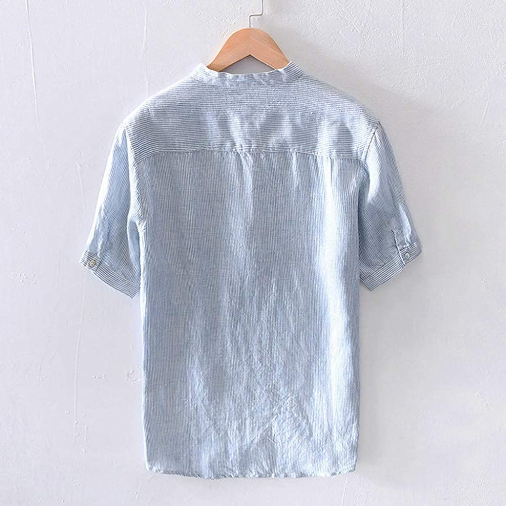TUDUZ Camisetas Hombre Manga Corta Camisas de Algodón y Lino a Rayas Botón con Bolsillo Superior Top Ropa de Cuello V (Azul M): Amazon.es: Ropa y accesorios