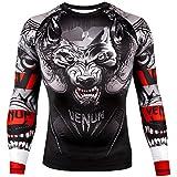 Venum Men's Werewolf Long Sleeve Rash Guard MMA BJJ Black/Grey