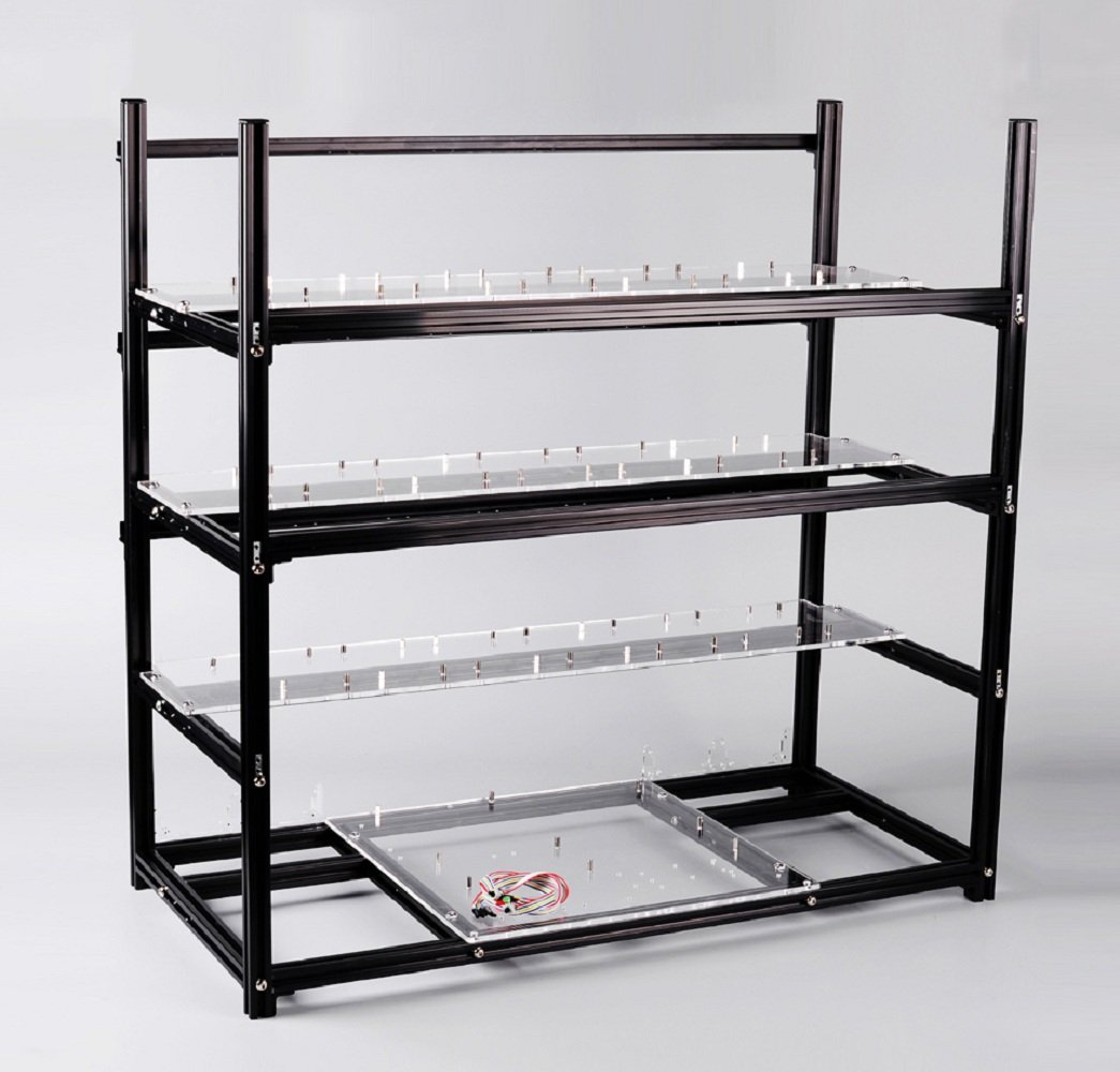 19 GPU Open Air Mining Case Rig Aluminum Stackable Computer ETH Frame Miner Rack Unassembled (Only Frame Included)