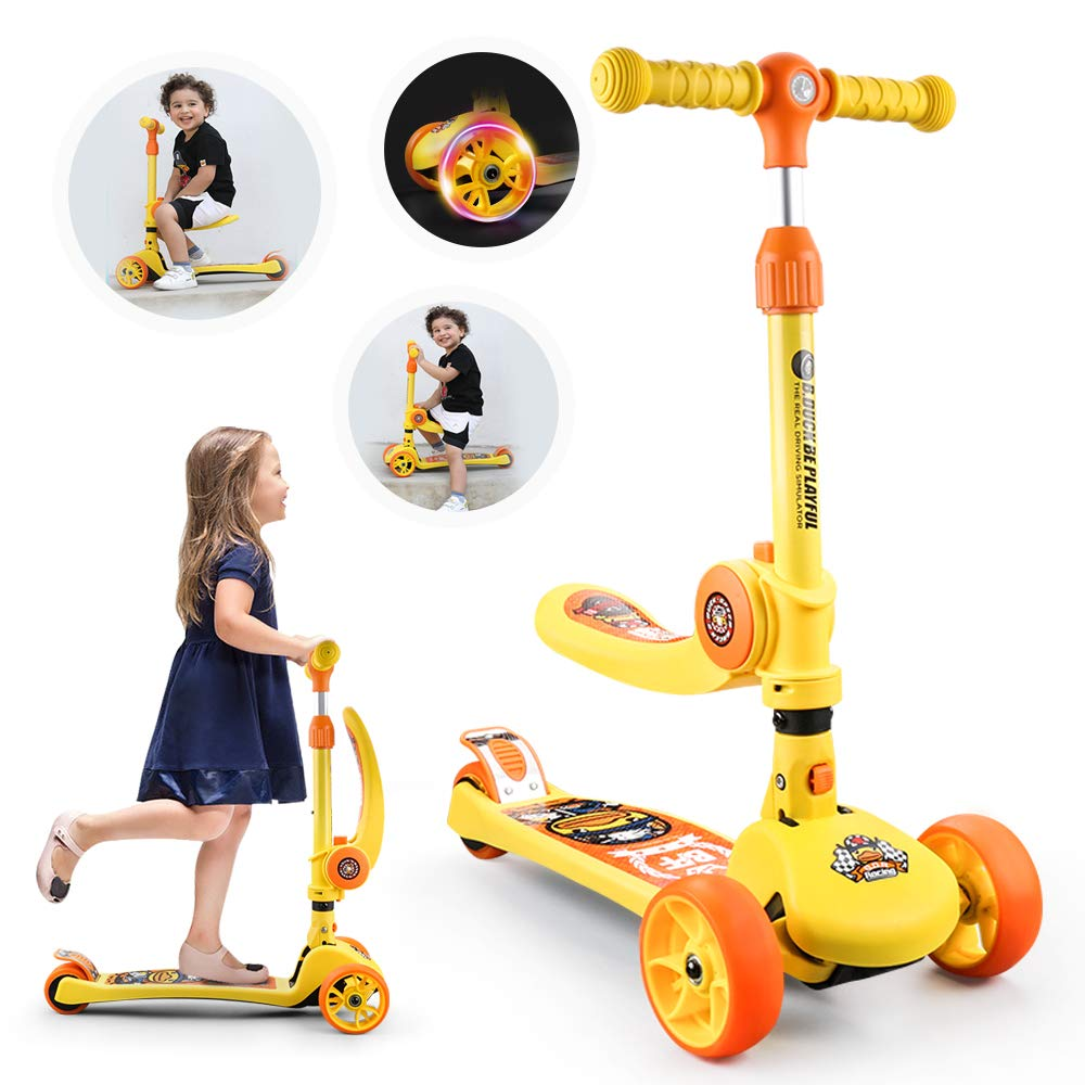 2 in 1 Foldable One-Legged Glide 3-Wheeled Scooter for Kids with SeatPU