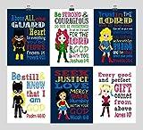 Christian DC Super Hero Girls Nursery Decor Art Set of 6 Prints, Batgirl, Harley Quinn, Poison Ivy, Catgirl, Supergirl & Wonder Woman - Multiple Sizes