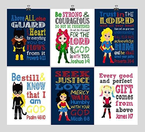 Christian DC Super Hero Girls Nursery Decor Art Set of 6 Prints, Batgirl, Harley Quinn, Poison Ivy, Catgirl, Supergirl & Wonder Woman - Multiple Sizes by Pixie Paper