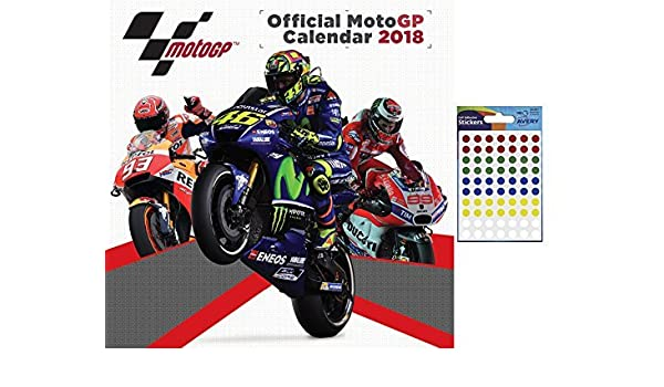 amazoncom bundle 2 items moto gp 2018 official wall calendar closed size 30 x 30 cm 12 x 12 inches and a sheet of 70 multi colour self adhesive