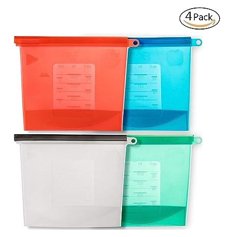 Juego de 4 bolsas de silicona reutilizables para almacenar ...