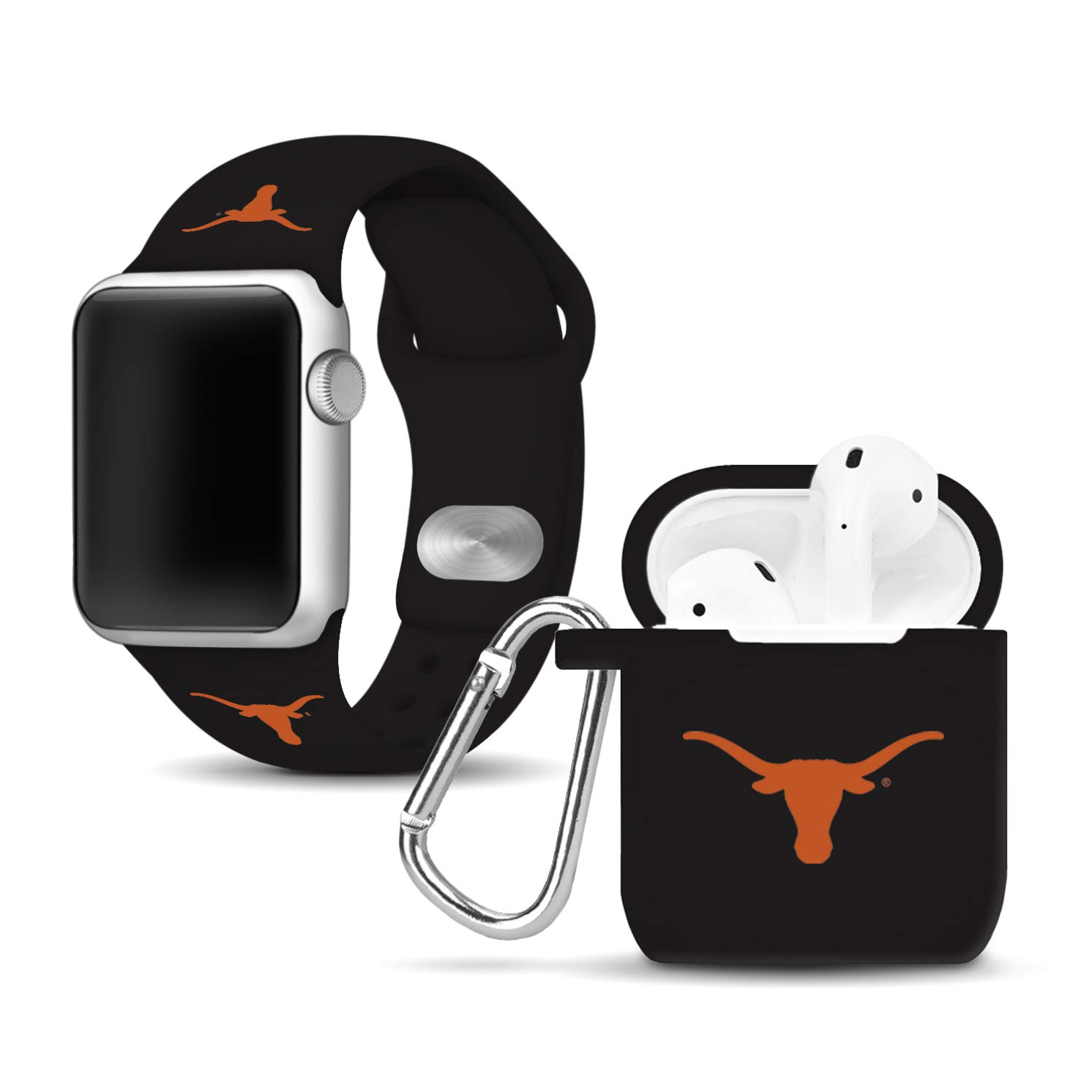 Affinity Bands Texas Longhorns Silicone Watch Band and Case Cover Combo Compatible with Apple Watch and AirPod Case by Affinity Bands