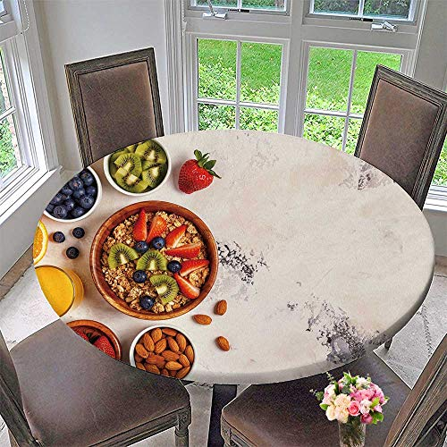 PINAFORE HOME Round Fitted Tablecloth Breakfast Bowl of muesli Berries and Fruit Nuts Orange Juice Milk top View for All Occasions 67