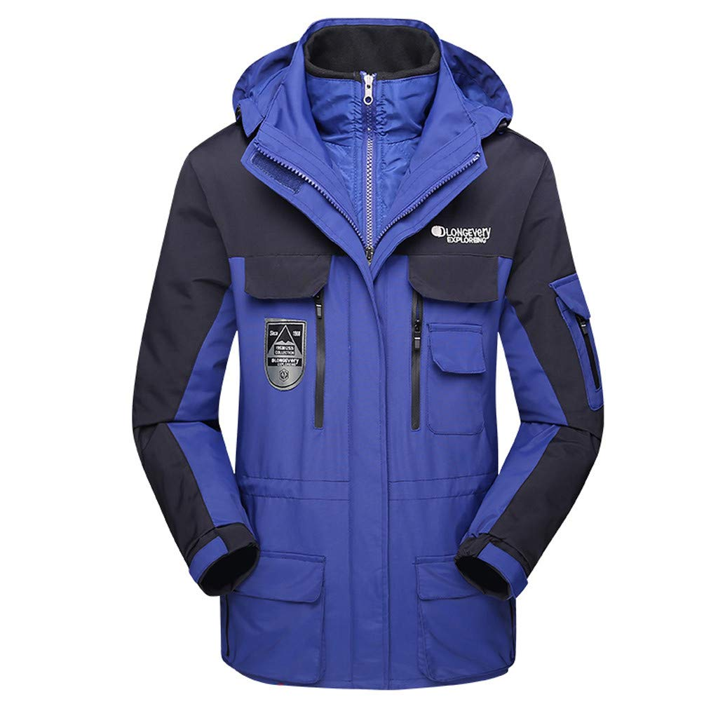 Luca-Coat LUCAMORE Unisex Hooded Waterproof Windbreaker Jacket Detachable Rain Jacket Outdoor Casual Sportswear Dark Blue by Luca-Coat