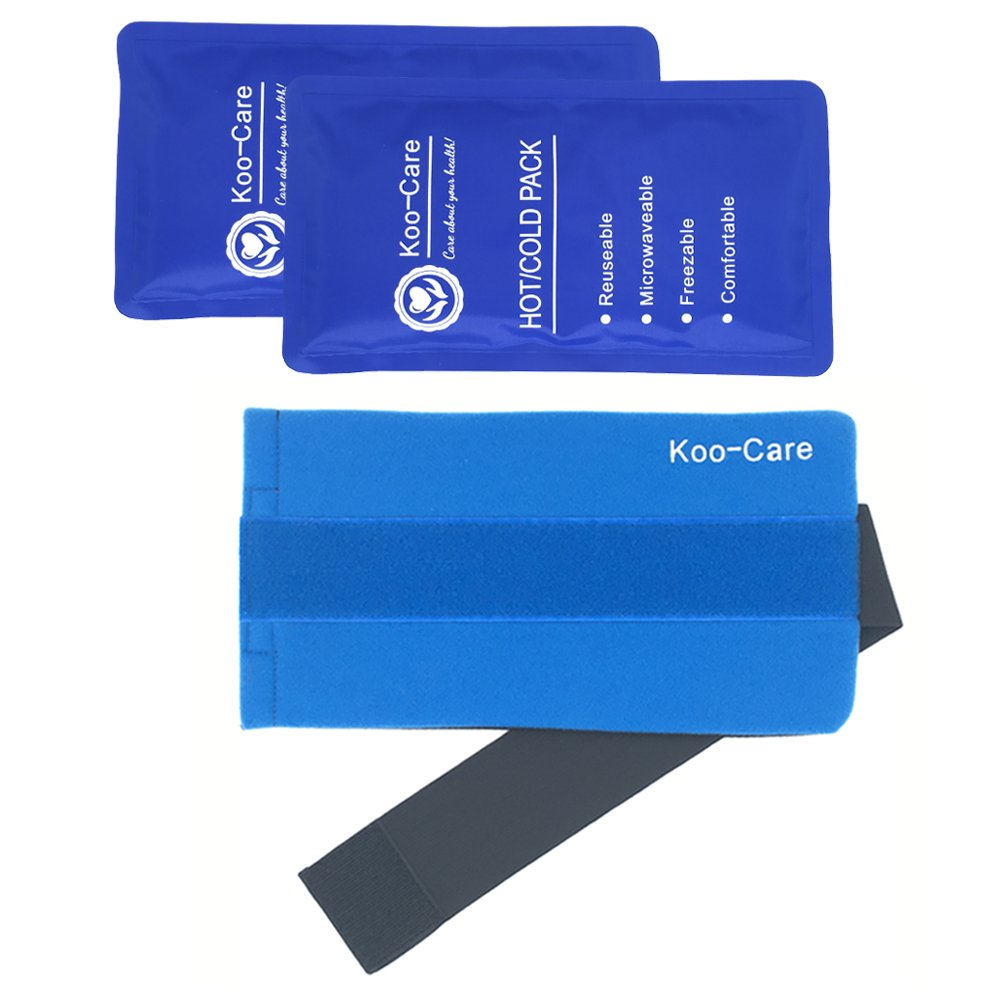 Koo-Care 2 Flexible Gel Ice Pack and 1 Wrap with Elastic Strap for Hot/Cold Therapy, 11-Inch-by-5.9-Inch (Standard) by Koo-Care