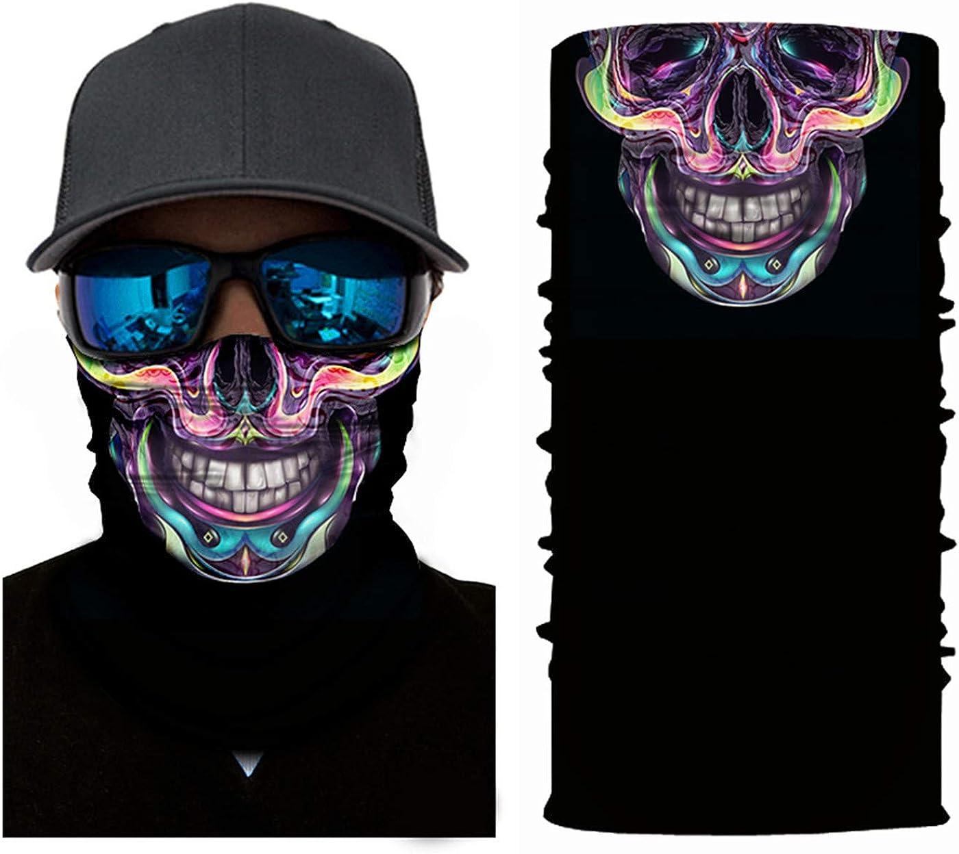 3D Balaclava Moto Pasamontañas Calavera Multifuncional Bufanda Prueba de Viento Microfibra Elástico Pañuelos Cabeza Bandana Calavera Ciclismo Bici Máscara Facial Protección UV Esquí Cintas de Pelo