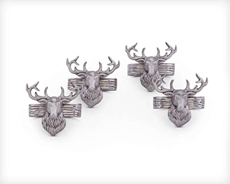 Arthur Court Set Of 4 Aluminum Napkin Rings With Elk Head; 3 Inches Tall;