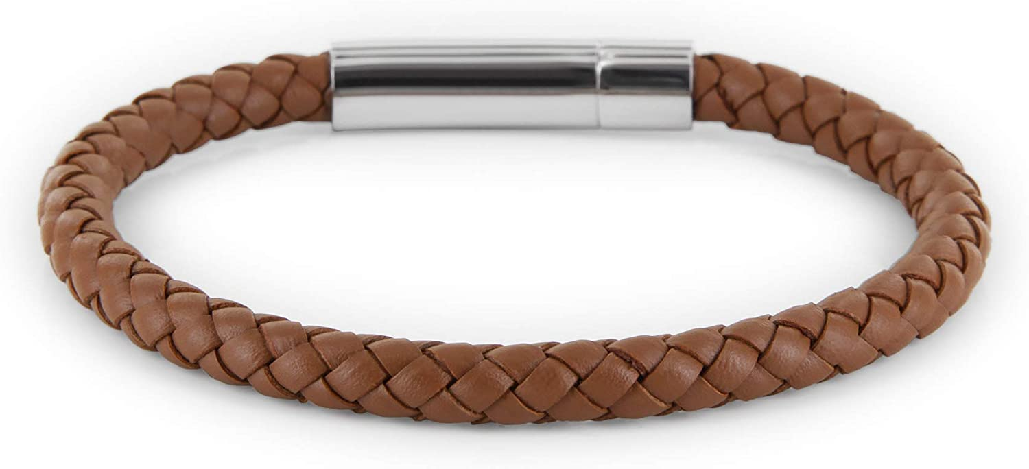 Bracelet braided in brown or black Massi Morino /® Mens genuine leather stainless steel lever lock for easy putting on
