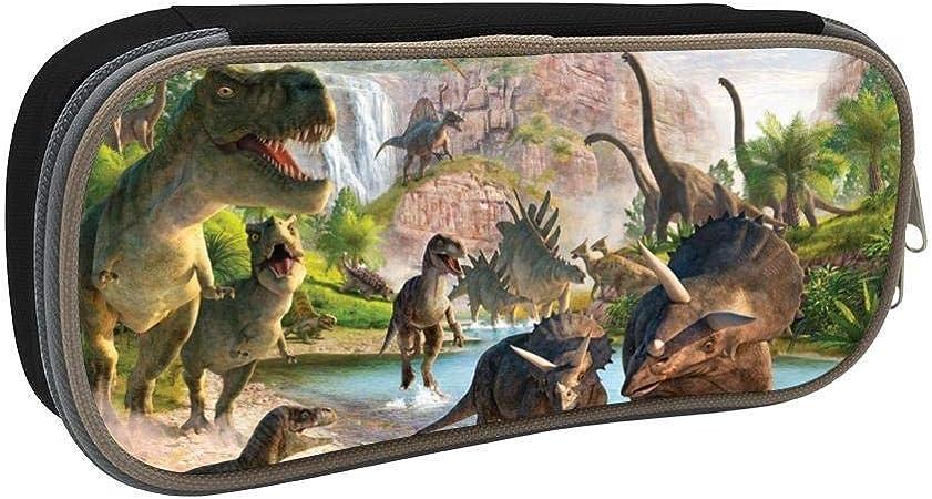 Dinosaurs World - Estuche para lápices de gran capacidad para estudiantes, diseño de dinosaurios, multifunción, con doble cremallera, organizador de almacenamiento para niños y adolescentes: Amazon.es: Oficina y papelería