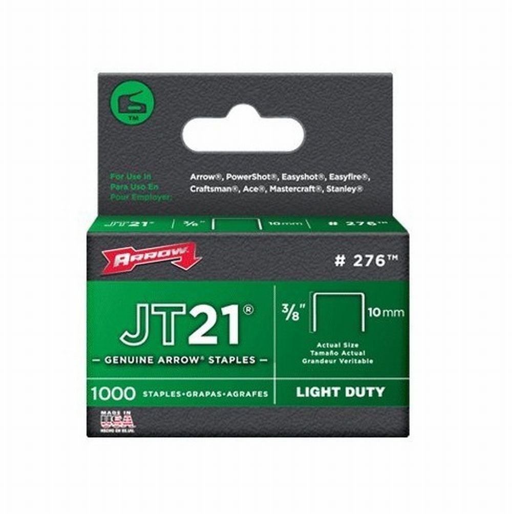 Arrow 276 JT21 3/8-Inch / 10mm Staples, 1000 Staples, Pack of 100