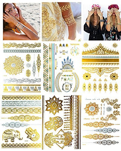 6 Sheets Silver and Gold Temporary Tattoos Paper for Women - Mandala Boho Metallic Fake Henna Tattoo - Jewelry Flowers, Elephants, Bracelets, Wrist and Arm Bands -