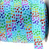 Midi Ribbon Stretch Holographic Hologram Polka Dot Printed Fold Over Elastic Band 5/8'' X 10 Yards/Pack-Turquoise Color-Handmade Hair Tie Headband Ponytail Holder Sewing Supplies