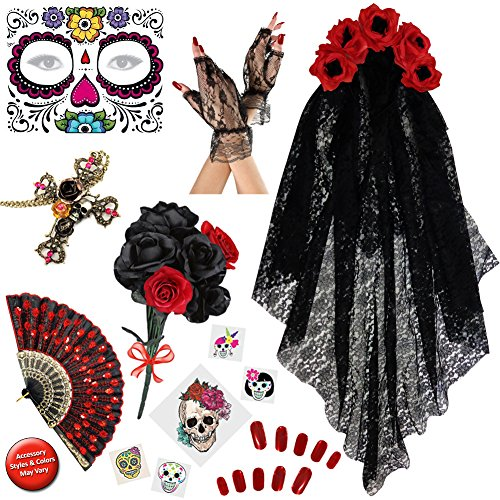 Dia de los Muertos Day of the Dead Deluxe Accessory Kit - Day Of Dead Costume Plus Size