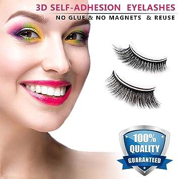 8fb438ae48a Amazon.com : Fake Eyelashes 3D Self-adhesive False Eyelashes Natural Look  Resuable Fake Lashes Easy Thick Extensions Set with Glue : Beauty