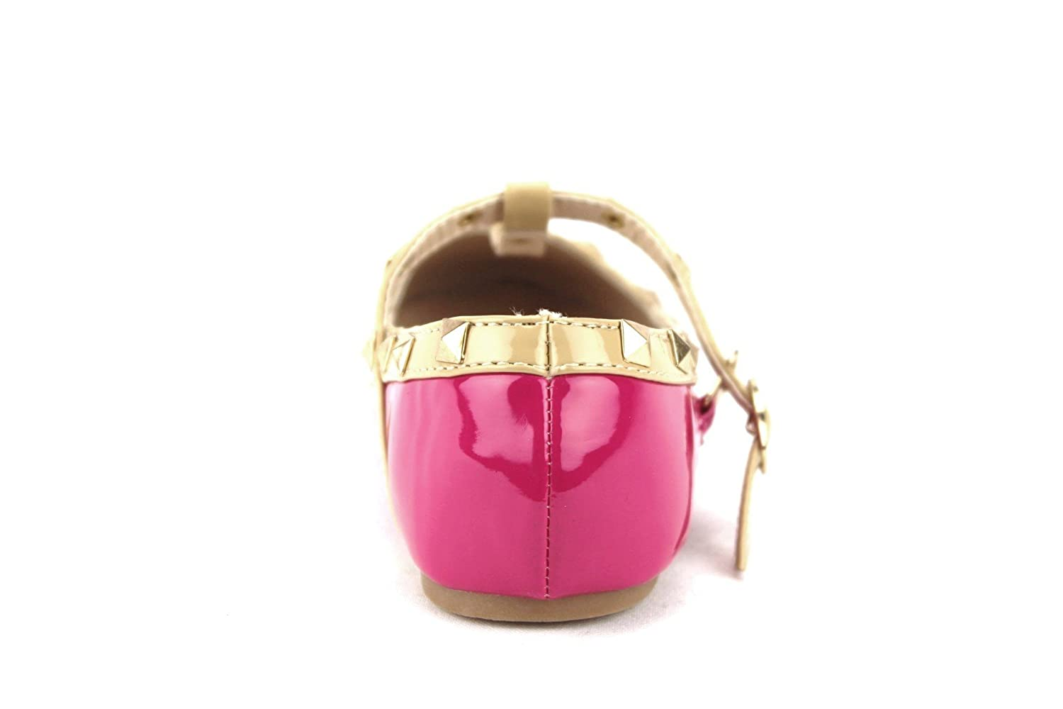 Ositos QQ Little Girls Kids Dolly36 Designer T-Strap Studded Mary Jane Flats Shoes QQ-Dolly36