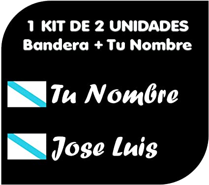 Pegatina Vinilo Bandera Galicia + tu Nombre - Bici, Casco, Pala De ...