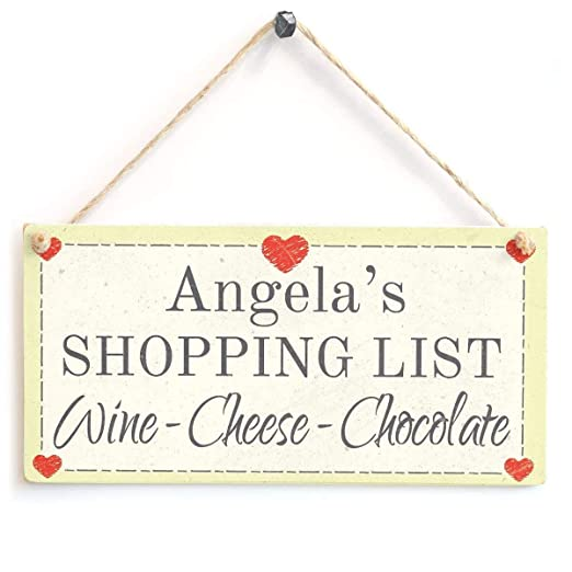 Mr.sign Shopping List Wine Cheese Chocolate Cartel de Pared ...