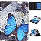 Polaroid 7' Tablet Case,[Blue Butterfly] Universal Magnetic Wallet PU Leather Stand Case Cover with Built In Card Slots for Polaroid P700BK Quad-Core 7 Inch