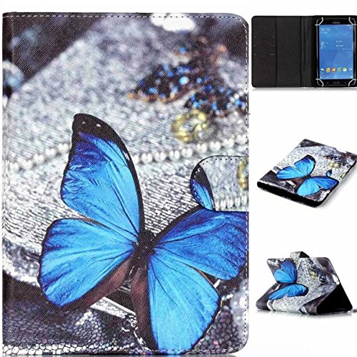 """Polaroid 7"""" Tablet Case,[Blue Butterfly] Universal Magnetic Wallet PU Leather Stand Case Cover with Built In Card Slots for Polaroid P700BK Quad-Core 7 Inch"""