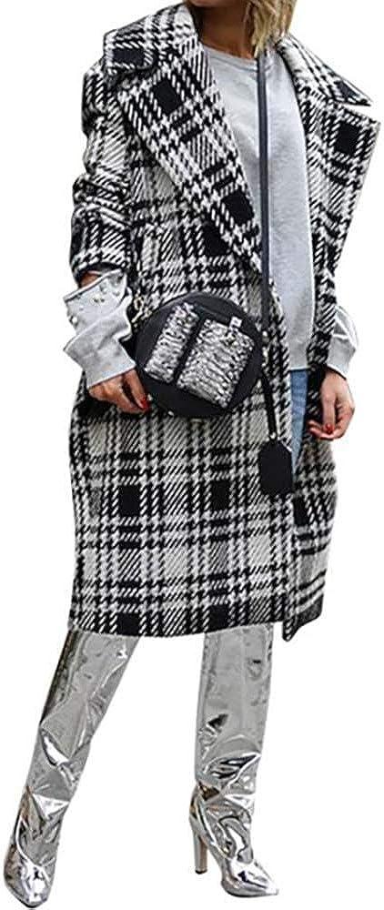 NOBRAND Abrigo de Lana a Cuadros de Estilo inglés para Mujer Abrigo de Gran tamaño de otoño Invierno Abrigos Largos de Lana Vintage