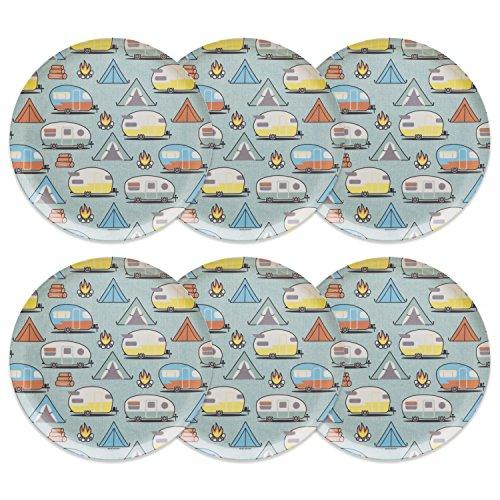 Zak! Designs 6 Piece Adventurer Melamine Plate, Tents & - Melamine Designs Zak
