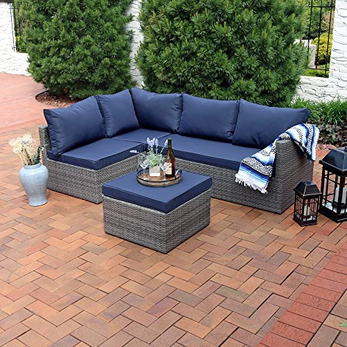 Sunnydaze Port Antonio Wicker Rattan 4-Piece Patio Sofa Sectional Set with Dark Blue Cushions