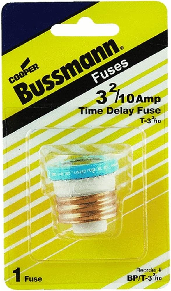 Bussmann T-6-1//4BC 6-1//4 Amp Type T Time-Delay Dual-Element Edison Base Plug Fuse 125V UL Listed 1-In Bag