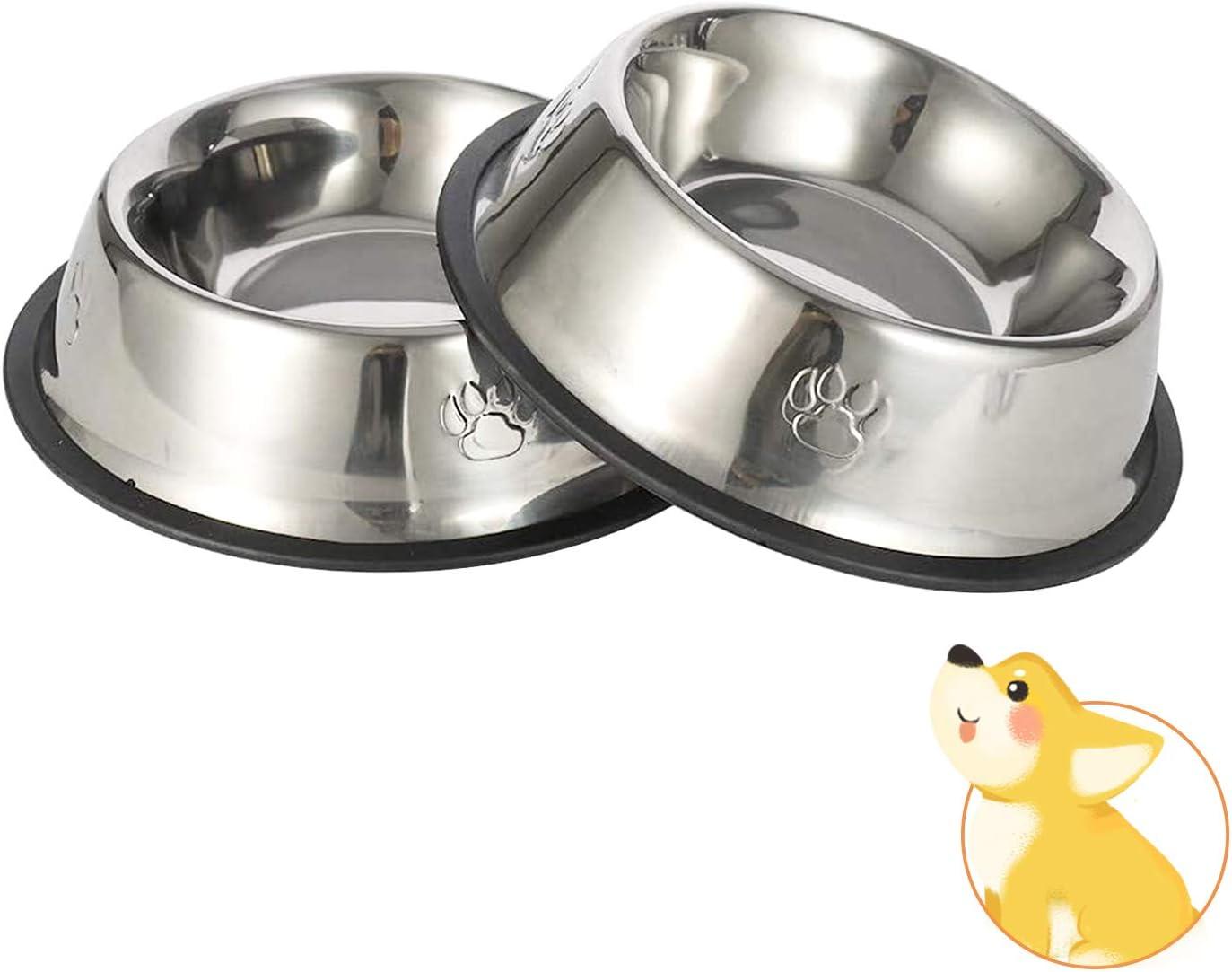 JINYJIA Comedero para Perro de Acero Inoxidable, Comedero y Bebedero Perro Antideslizante, Platos Gatos Mascotas, para Mascotas Pequeñas y Medianas(2 Unidades, 22cm)