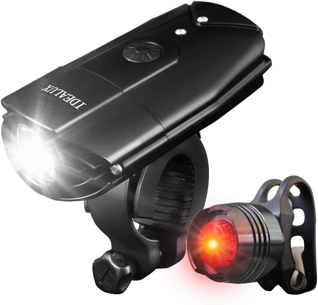 IDEALUX LED Bicycle Lights – 1000 Lumens Super Bright LED Front and Back Rear Lights – USB Rechargeable Bike Light Set – IP65 Waterproof, Headlight and Taillight Bicycle Flashlight for Safe Cycling