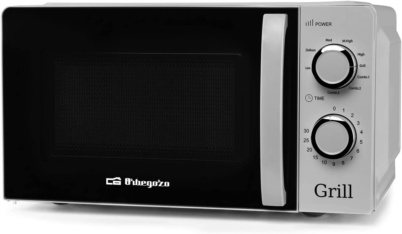 Orbegozo MIG 2138 - Microondas con grill con 20 litros de capacidad, 5 niveles de funcionamiento y 3 funciones combinadas, temporizador hasta 30 minutos, 700-900 W