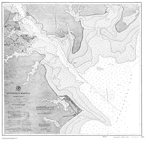 18 x 24 Canvas 1869 US old nautical map drawing chart of Navigation Chart of Annapolis Harbor From US Coast & Geodetic Survey x2876