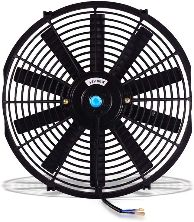 """(Pack of 2) Universal 14"""" Electric Radiator Cooling Fans Slim Push Pull 12V 80W Engine Fan with Mount Kit(Diameter 13.98"""" /14.76"""" Depth 2.76"""")"""