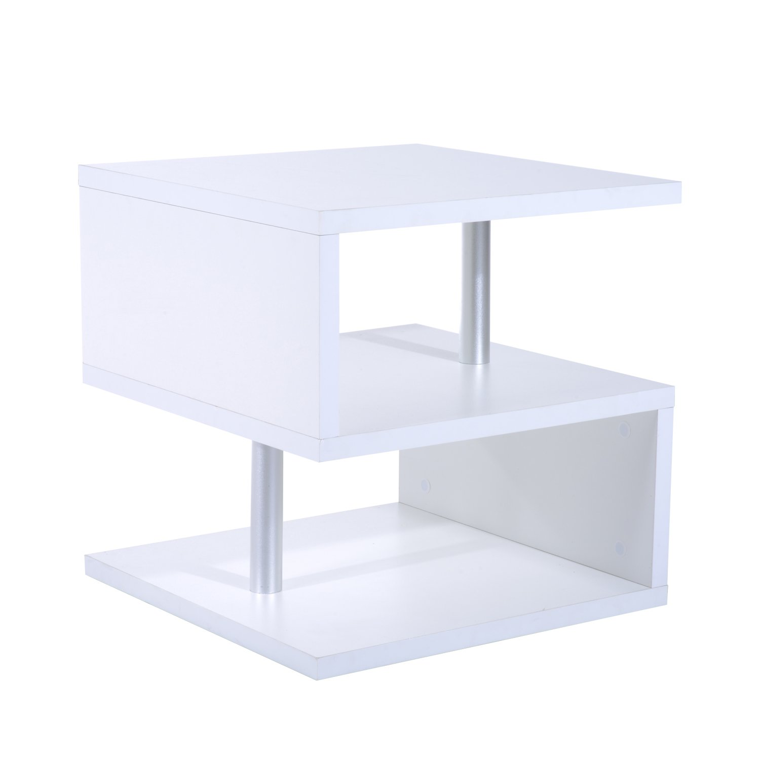 HOMCOM Wooden S Shape End Table 3 Tier Storage Shelves Organizer Living Room Coffee Side Table Desk White Aosom Canada