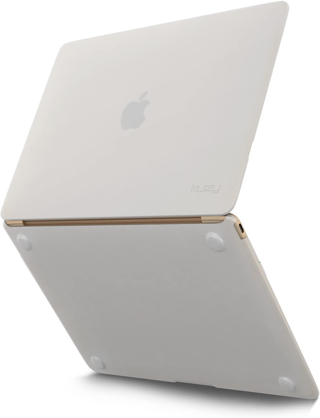 Kuzy MacBook 12 inch Case Silicone Touch Cover A1534 (Newest Version) - Frost/White