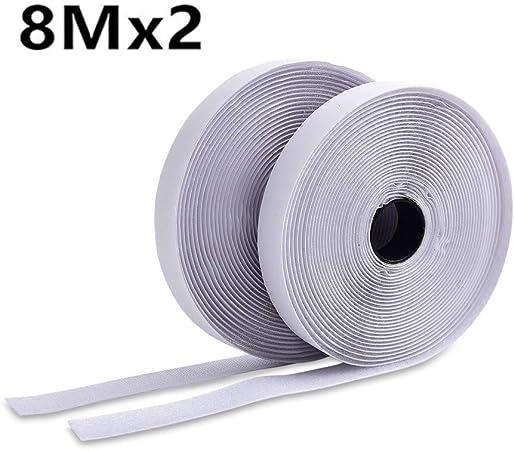 1 Mètres Crochet /& Boucle Velcro Noir//Blanc auto-adhésif Stick-sur bande