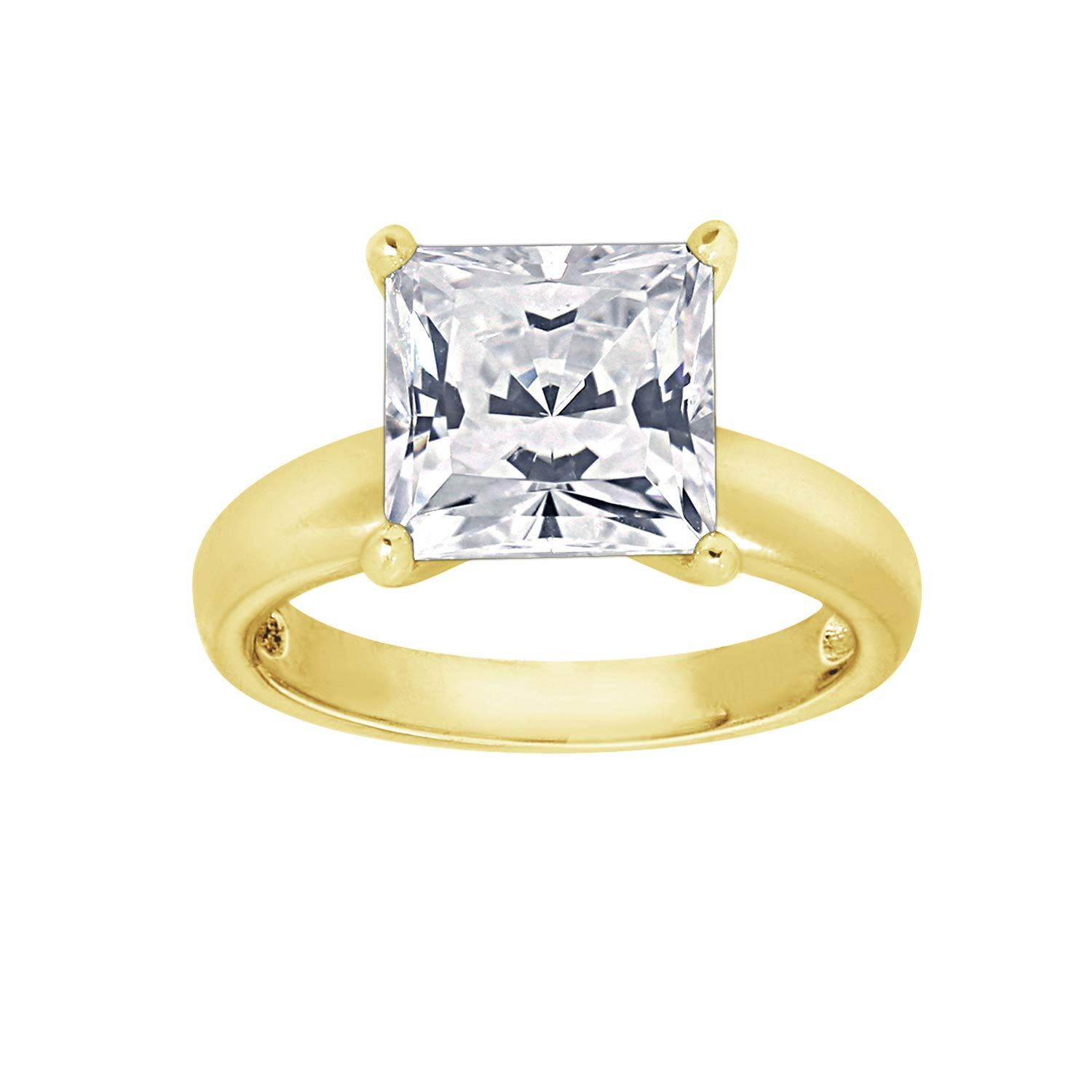 GEMOUR Rhodium or Yellow Gold or Rose Gold Plated Sterling Silver 3 cttw 8.5mm Princess Cut Cubic Zirconia Solitare Ring