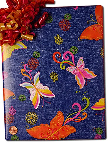 24'' X 100' Butterfly On Denim Gift Wrap by Paper Mart