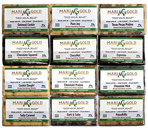 MariGold GRASS FED Whey Protein Bars Sampler Pack- 21+gm Protein, Low Sugar, Non GMO, Amazing Taste - Made Fresh, Ships Fresh. Purest Ingredients (12)