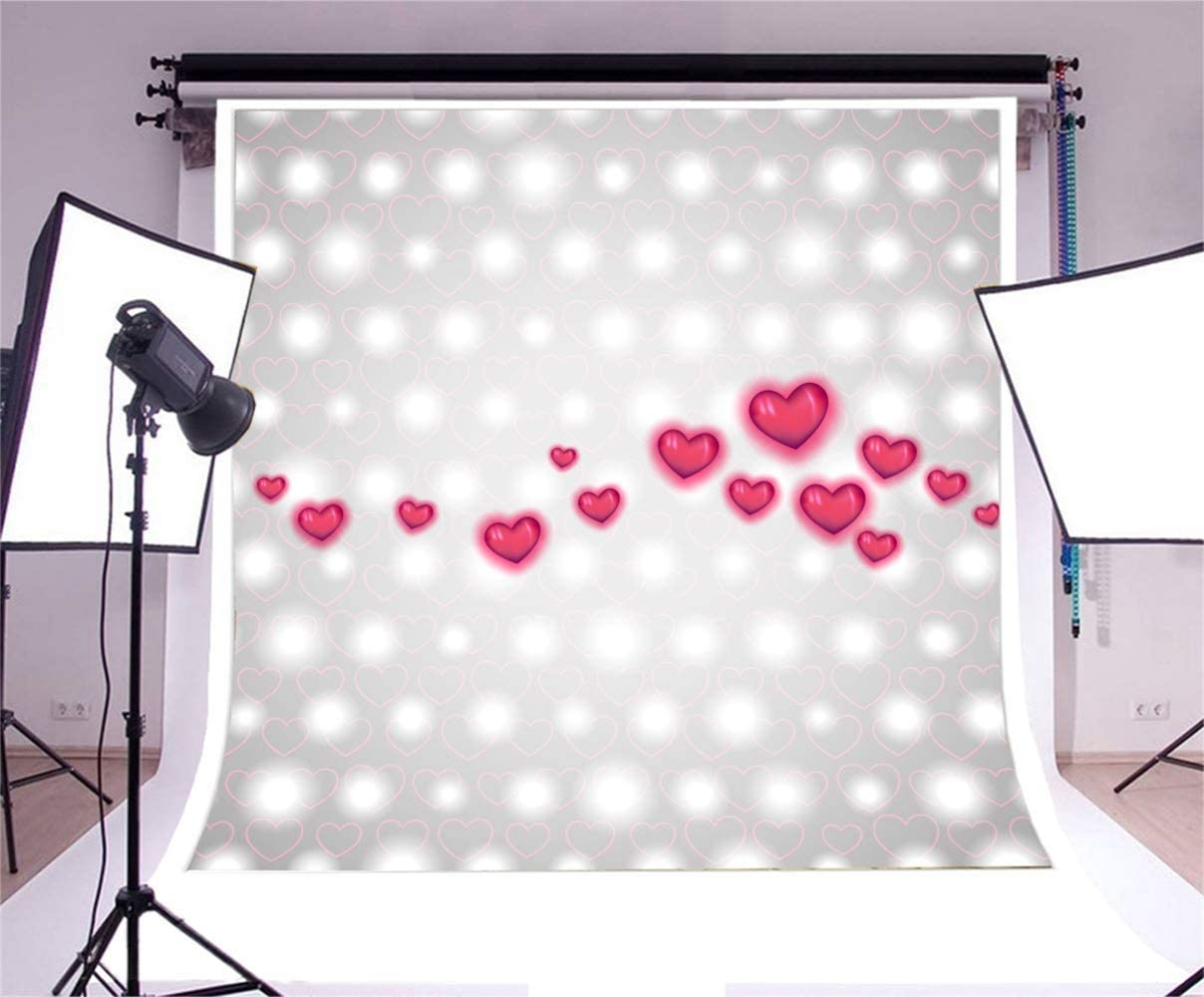 8x8ft Valentines Day Background Red Hearts Decors Bokeh Light Spots Backdrop Polyester Girls Adult Lovers Portrait Shoot Greeting Card Wallpaper Bridal Shower Studio Props