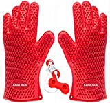 roasting red pot - Kitchen Meister Silicone Oven, BBQ & Pot Holder Glove Set, Set of 2, Red