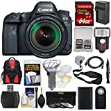 Canon EOS 6D Mark II Wi-Fi Digital SLR Camera & EF 24-105mm IS STM Lens with 64GB Card + Backpack + Flash + Battery & Charger + Filters Kit