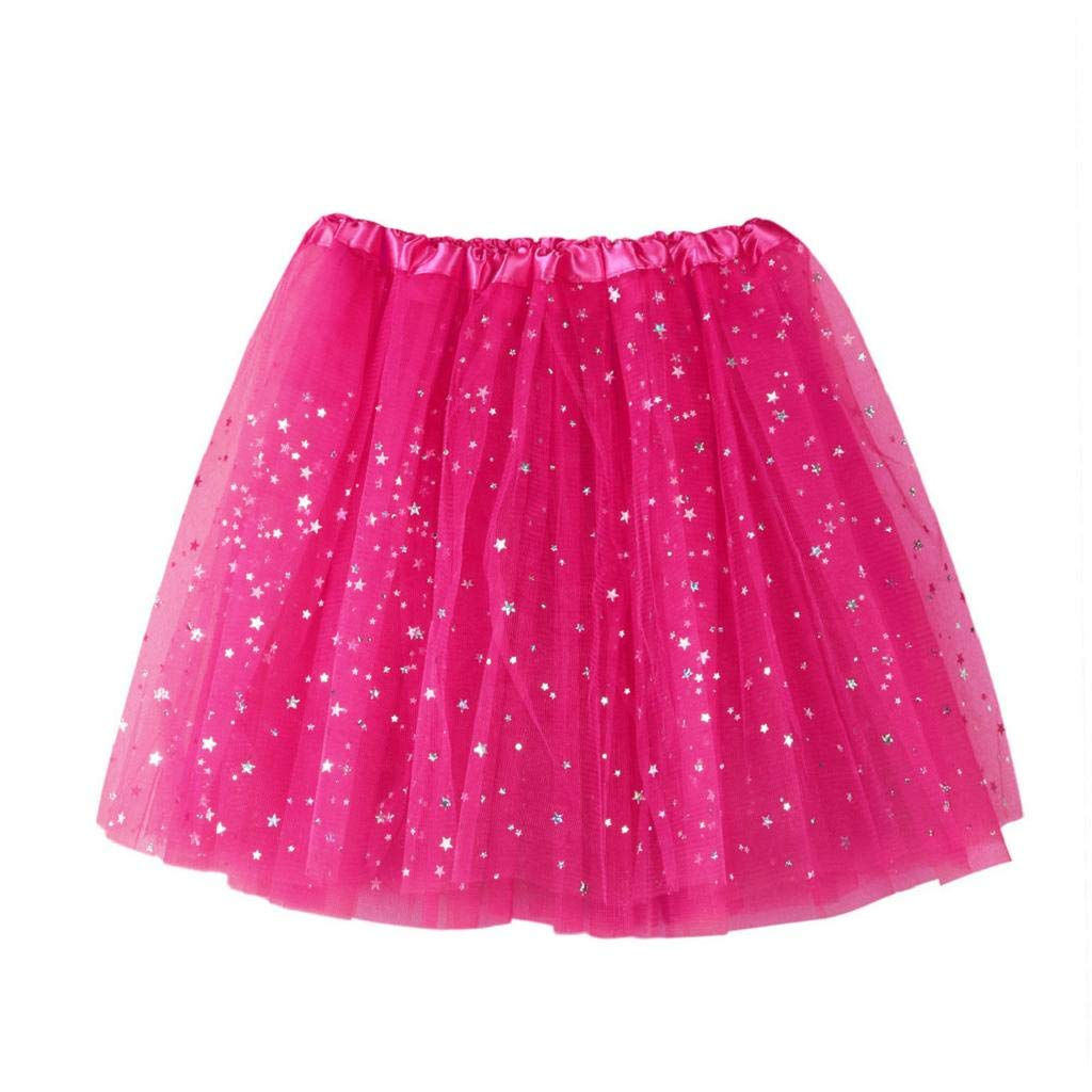 MISYAA Womens Skirts Only Left Sequin Tutu Skirts Ballet Tulle Skirts Multi-Ply Wedding Banquet Mesh Skirts Hot Pink