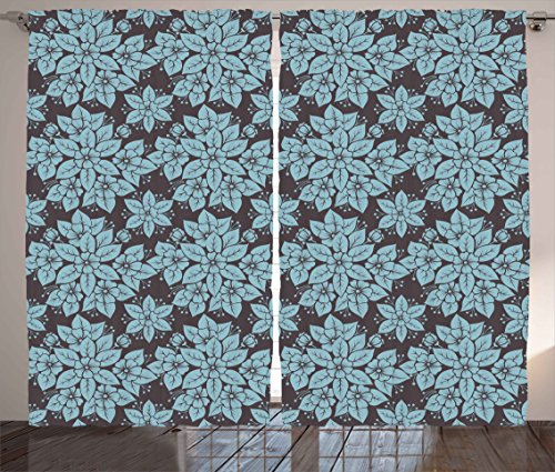Floral Curtains by Ambesonne, Vintage Flowers Pattern Funky Blossoms and Petals Retro Artwork Image, Living Room Bedroom Window Drapes 2 Panel Set, 108W X 90L Inches, Light Blue and Dark - Funky Curtain