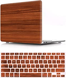 HRH 2 in 1 Brown Wood Texture Laptop Body Shell Protective PC Hard Case Cover and Matching Silicone Keyboard Cover for MacBook Air 13.3